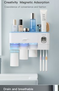 Bathroom Accessories organizer Set Toothbrush Holder Automatic Toothpaste Dispenser Holder Toothbrush Wall Mount Rack Tools Set
