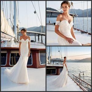 2019 New Eddy k Beach Sirena Vestidos de novia cariño mangas desmontables vestidos de novia Backless vestido de novia blanco más el tamaño