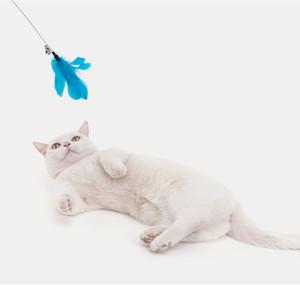 Creative Design Bird Feather Sticks Juguetes Gatos juguete divertido Tenacidad Con Las Alarmas coloridas alimentos para mascotas Varita Para Juego del gatito