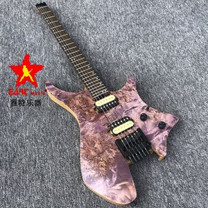 in stock EART headless portable electric guitar,charcoal grilled maple 5 neck,pink matte paint ASH body rotten wood grain.Musical instrument