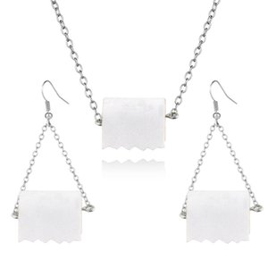 Pendientes de papel higiénico Rodillo cuelga los pendientes del collar de la divertido de la mordaza regalo para ella pendientes de la manera de las mujeres del rollo de papel