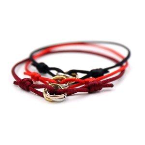 braccialetto di qualità superiore con tre anelli fortunati ciondolo di connessione e la corda per le donne e gioielli regalo uomo PS5221 trasporto libero
