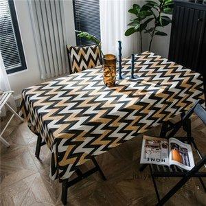 Platz Umwelt Printed Tischdecke Einfache Wellen-Streifen-Tischdecke American Country Table Mat Retro Tischtuch 2020 Neu