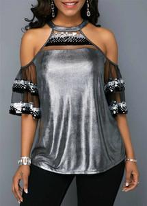 Estate delle donne O-Collo camicetta camicia delle parti superiori del merletto della spalla sexy di modo a maniche corte Ruffle Solid paillettes Bling Sexy Cold Summer