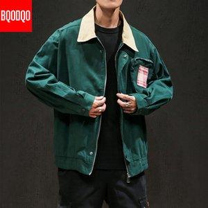 BQODQO Хлопок Military Army Осень Мужская одежда воротник отложной Мода хип-хоп куртка Streetwear мужчин распашонки плюс размер T200502