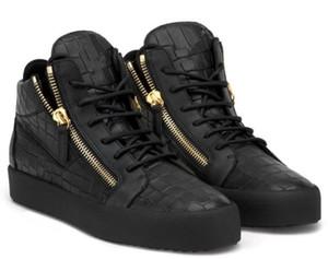 2019 ГОРЯЧИЕ ЖЕНЩИНЫ МУЖЧИНЫ ВЫСОКОЕ КАЧЕСТВО ЧЕРНЫЕ РАБОЧИЕ ОБУВИ ZIP СНЕКЕРЫ Высокая помощь Обувь на молнии Сращивание Пара обуви 35-47