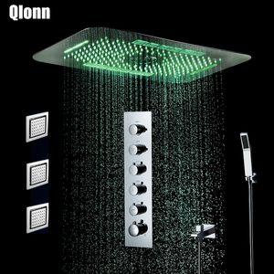욕실 LED 5 기능 샤워 꼭지 세트 천장 스테인레스 스틸 샤워기 온도 조절 밸브 비 폭포 미스트 샤워 세트