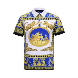 2019 La última versión de Corea del modelo de leopardo en flor de los hombres para hombre de la marea 3D de la camiseta delgada Diseñador de comercio exterior