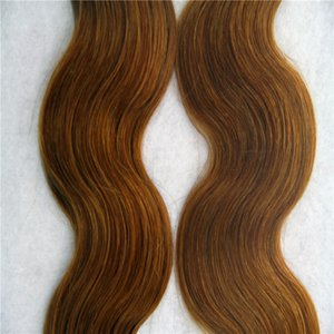 """Medium Brown Color Tape In Human Hair Extensions Body Wave Brazilian 10""""-34"""" Skin Weft Hair Extensions 1Pcs 100G"""
