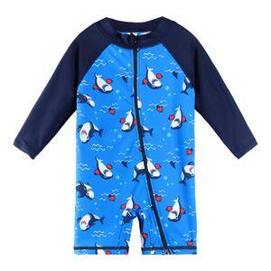 wim One-Piece Suits BAOHULU UPF50+ Cartoon Kids Swimwear Long Sleeve Baby Boy Swimwear One Piece Toddler Swimsuit Infant Bathing Suit for...