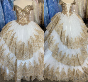 Glamorous Gold Lace Sweet 15 Quinceanera Dresses Ball Gowns Off The Shoulder Three Layers Overskirts Lace-up Prom Party Dress Evening Gowns