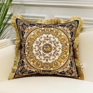 Coussin de luxe Couverture d'impression Tassel Velvet Coussin Cover décoratifs pour la maison design européen Srusader Canapé Chambre Taie