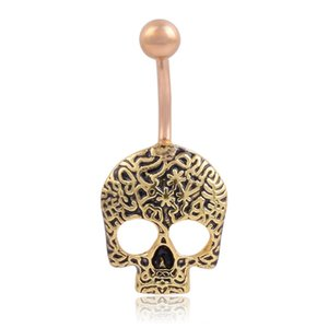 Stainless Steel Patterned Skull Navel Ring Belly Piercing Kit Belly Button Rings Fashion Body Piercing Jewelry