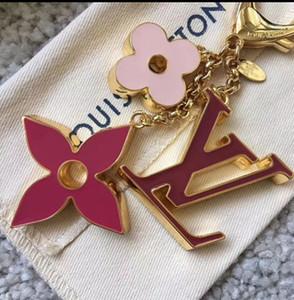 High quality metal dripping oil key chain fashion car key chain handbag accessories four-leaf clover brand luxury key chain gift box