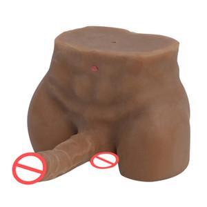 de silicona muñeca real de mini sexo para las mujeres adultas muñecas sexuales masculinas homosexuales Brown con suaves gran consolador anal juguetes hombres del cuerpo Flexible Love