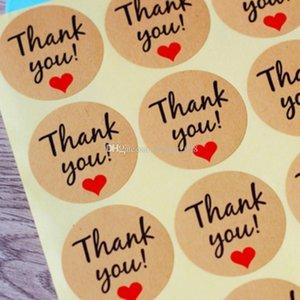 """Kraft Paper """"Grazie"""" etichetta adesiva con il cuore rosso, diametro 38 millimetri Seal etichetta adesiva per la decorazione regalo fai da te e di cottura della torta di imballaggio"""