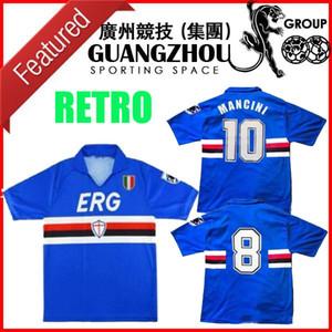 1990 1991 1992 camisa de futebol camisa Sampdoria retro soccer 90 91 UC Sampdoria vintage clássico Mancini Vialli Cerezo Attilio Lombardo