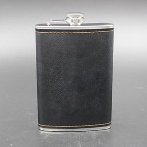 Presentes preferência alta qualidade em aço inoxidável 9 Oz Hip Flask couro vinho Garrafa de Whisky Retro Gravura álcool bolso Flagon com caixa