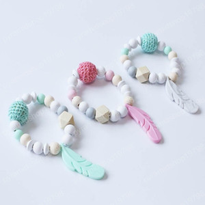 INS hot sale Baby Teething Toy Silicone Training Baby Bracelet Tooth Gum Crochet Feather Chewing Toy Gifts Beads Pacifier newborn gift