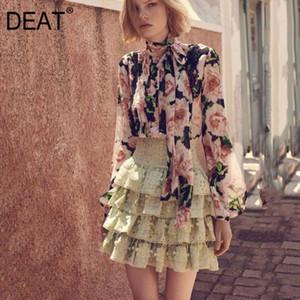 DEAT 2020 nouveau printemps mode femme vêtements manches lanterne arc imprimé fleur chemise en mousseline de soie col chemisier WK55100L