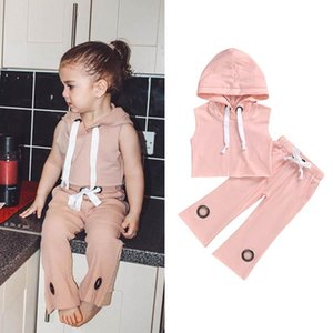 Ins 2020 Summer casual girls suits fashion girls tracksuit kids tracksuit Hooded Vest+flared trousers 2pcs set kids outfits B979
