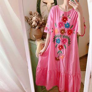 Spring Summer Dress Women Bohemian Mori Girl Sweet Oversize Midi Dress Korean Cute Casual Loose Embroidery Cotton Long