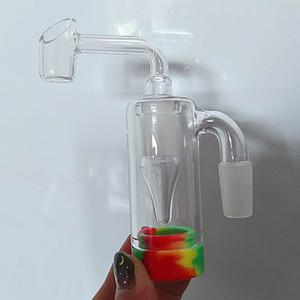 Сборка зольника стеклянный зола ловец 14 мм с силиконовым контейнером кварцевый Banger или чаша подходит для курения стекла бонг водопроводной трубы оптом