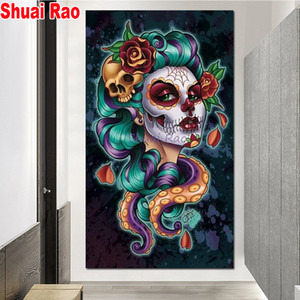 3d diamond painting octopus skull women full drill square round diamond embroidery cross stitch Halloween portrait wall stickers