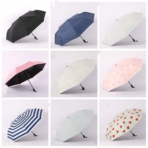 Drei-Falten Regenschirme tragbare Mini Folding Umbrella Solid Color kurzer Stiel Umbrella Sonnenschirm Factory Direct Großhandel LXL956-1
