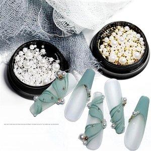 1 Box Charm 3d ногтей Rhinestone Various Размер Pearls Очаровательная Nail Art Decoration белый круг шариков Шпильки маникюрные ювелирные изделия Драгоценные камни