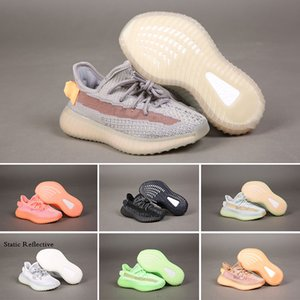 Kanye Kids zapatos Children Girls Boys Running Shoes Black Clay Glow Static Reflective Hyperspace TRFRM Kids Trainers Designer Sneaker 24-35