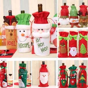 Santa Wine Bottle Cover Bag Weihnachtsessen Dekor für Rentier Schneeflocke Schneemann Flasche Hold Bag Case XD21205