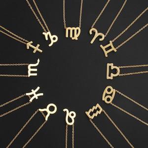 Toptan Yeni 12 takımyıldızı tasarımcı kolye beyaz Hediye kartı zodyak Erkekler Kadınlar Moda Takı A0133 için kolye Altın Gümüş zincirleri imzalamak