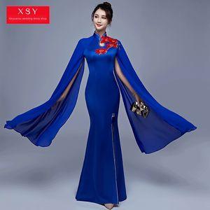 7e2cy Fish tail dark blue water sleeve Cheongsam skirt long stage performance clothing embroidered embroidery slim performance clothing long
