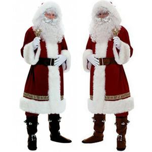 حار عيد الميلاد سانتا كلوز تأثيري بابا نويل ملابس تنكرية عيد الميلاد الرجال النساء تأثيري البدلة للكبار