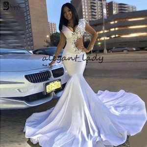 Long Beaded Prom Dresses 2019 Sexy V-neck Crystals New Design Elegant African Cut side White Mermaid Evening Dress For Party