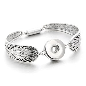 Silver Snap Bracelet Bangles 18mm Snap Buttons Jewelry 30 Designs Colorful Magnetic Flowers Bracelets Snap Jewellery