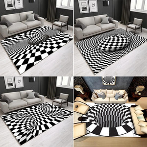 Black and white lattice geometric abstract carpet Nordic three-dimensional living room bedroom floor mat coffee table sofa home