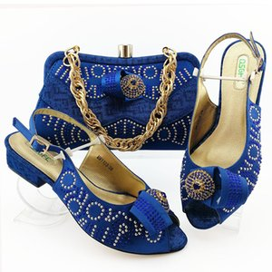 Blue sandal shoes and clutches bag matching set for nigeria wedding party match royal lace dress matching set SB8449-6