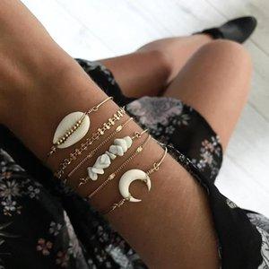 ALYXUY 6 pièces / set Bijoux Femme Mode Bohème Shell Lune Bracelet Pierre Set Femmes Gold Beach Party Chain Bracelets Les meilleurs cadeaux