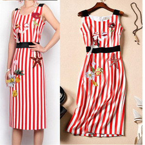 Brand Design Summer Women Dress Sleeveless Embroidey Vintage Red Strip Bohemian Knee-Length A-Line Party Dresses Vestidos Hot Sale