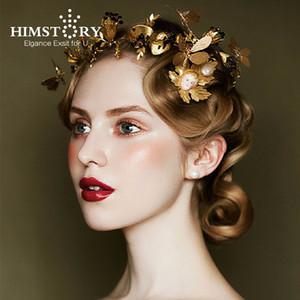 Himstory Barock Gold Leaf Schwarz Strass Hochzeit Tiara Krone Schmetterling Designs Stirnband Braut Haarschmuck Hairwear J 190430