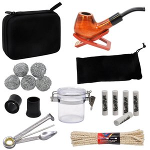 GORDON Tobacco Bag Set Wood Tobacco Pipe + Smoking Pipes Cleaning Tools + Carbon Pipe Filters + Glass Storage Jar Accessories