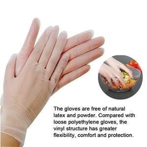 100pcs / pack à usage unique en PVC Gants de protection anti-poussière transparent Gants de cuisine Gants de protection imperméable Dishwashing CCA12018