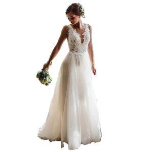 Vestidos de Noiva 2020 Deep V Neck Country Wedding Dresses Tulle Backless Garden Beach Boho Bridal Gowns For Women Plus Size Wedding Dress