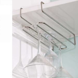 Wine Rack Hanging Wine Glass Holder Calici supporto della cremagliera in acciaio inox Accessori Glass Cup tormenta la mensola KC0005