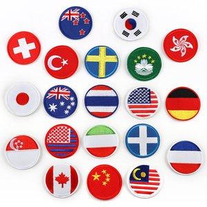 Yuvarlak Ulusal Bayraklar Nakış Yamalar Avustralya ABD Almanya Kanada Yeni Zelanda dikmek Demir Aplike DIY Rozet Yama Çocuklar Için Giysi Çantası