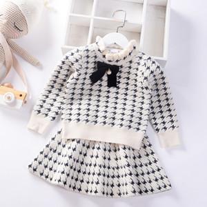 2020 de style automne hiver robe de filles Preppy Jumper Vêtements pour enfants de velours de vison bébé enfants Pull Tricoté Ensemble jupe