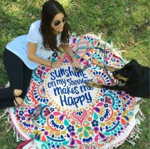 Beach Tassel Tapestry Towel Round Sunshine on My Shoulder Mades Me Happy Summer Swimming Sunbath Beach Towels Yoga Mat CCA9857 20pcs