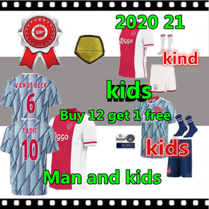 top qualité 2020 21 Ajax FC Football Maillots kits d'enfants 20/21 Camisa NERES TADIC HUNTELAAR DE Ligt VEN DE Chemises BEEK Football